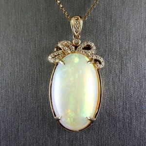 Jewelry - Opal & Diamond Solitaire Pendant 14k YG 21.10Ct